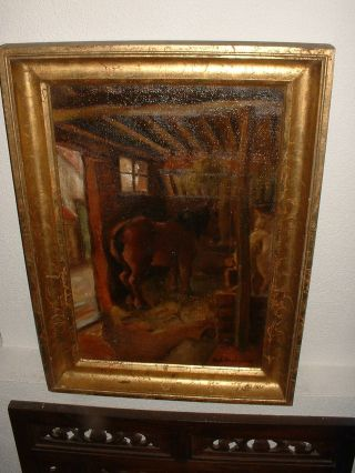 Old Oil Painting,  { Horses In Their Barn,  Is Signed,  Great Frame }. photo