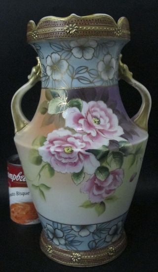 Gorgeous Antique Large Hand Painted Moriage Imperial Nippon Vase 12