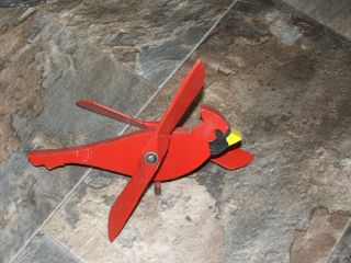 Vntg Folk Art Red Cardinal Whirligig Bright Colors Solid Wood Works Orig Paint photo