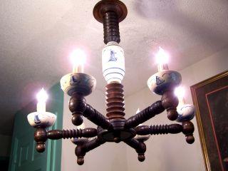 Rare Antique Blue Delft Blauw Porcelain Wood Chandelier Holland Light Fixture photo