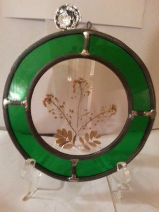 Glass Cellar Antique Vintage Round Stained Glass Floral Scene Sun Catcher 1 photo