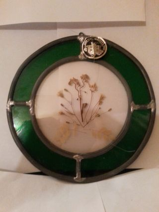 Glass Cellar Antique Vintage Round Stained Glass Floral Scene Sun Catcher 2 photo