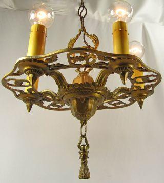 Vintage Chandelier Antique Deco Brass Finish Cast Metal 5 Lights Fixture 1930s photo