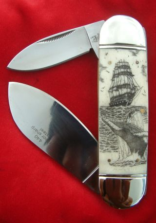 Nautical Scrimshaw Art,  Tall Ship,  Breaching Humpback Whale Folding Knife/knives photo