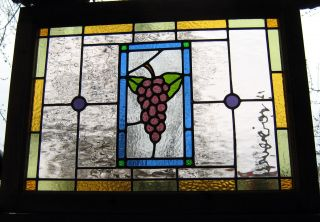 Stained Glass Window Panel Victorian Leaded - Grapevine photo