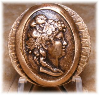 Antique Brass Raised Dome Cameo Button Of Bacchante W Grapes In Hair 1 1/8