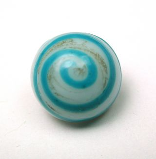 Antique Charmstring Glass Button Blue W/ Blue Spiral Dome Shape Swirl Back photo