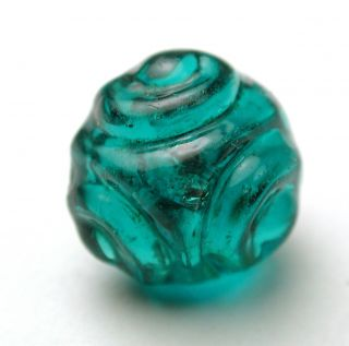 Antique Charmstring Glass Button Teal Color Tri Mold Top Swirl Back photo