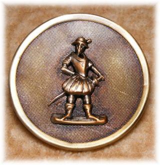 Antique Textured Brass Figures Button Of Till Eulenspiegel German Folk Hero 1.  5