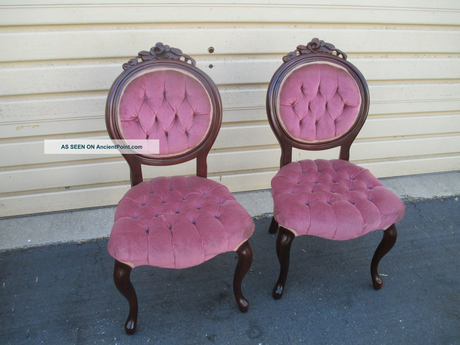 52203 Pair Victorian Style Kimball Rose Carved Tufted Boudoir Chairs