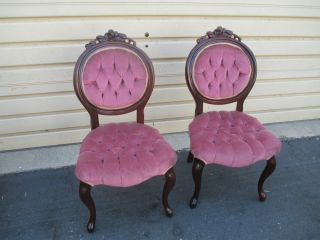 52203 Pair Victorian Style Kimball? Rose Carved Tufted Boudoir Chairs photo