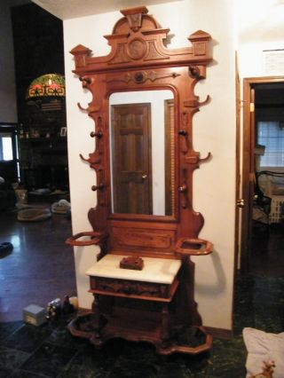Eastlake Victorian Walnut And Burl Walnut Unbrella Stand W/ci Bases & Coat Rack photo