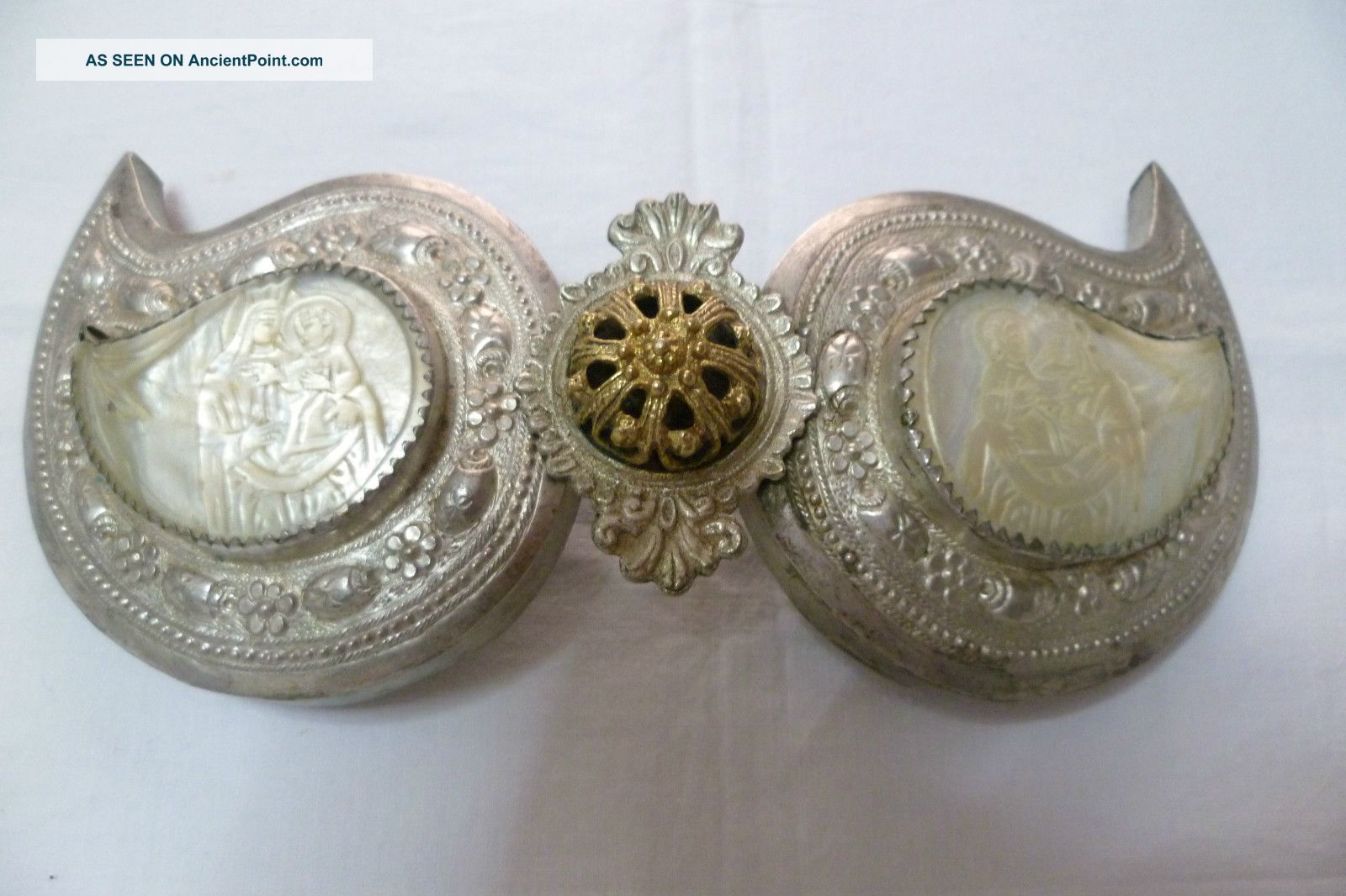 Estate Find 19th C.  Authentic Silver Buckle,  Chased Seashell Cameo Icons. Middle East photo