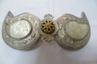 Estate Find 19th C.  Authentic Silver Buckle,  Chased Seashell Cameo Icons. photo