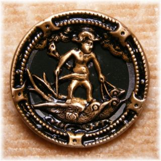 Antique Tinted Brass Button Of Cupid Driving A Team Of Swallows 1 1/4