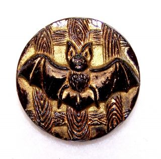 "Antique Black Glass Picture Button Gold Luster Raised Bat With Spread Wings 7/8"" photo"