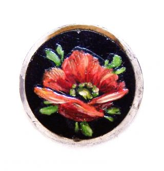 "Antique Black Glass Hand Painted Red Flower Picture Button W/silver Trim ¾"" Diam photo"