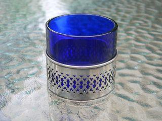 Antique Webster Sterling Silver & Cobalt Glass Salt Cellar photo
