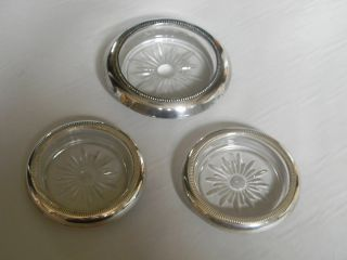 Antique Sterling Silver And Glass 3 Coasters photo