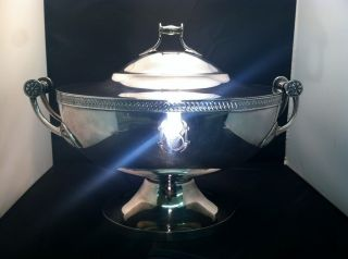 Circa 1880 Gorham Silver 3+ Quart Footed Covered Soup Serving Tureen Bowl photo