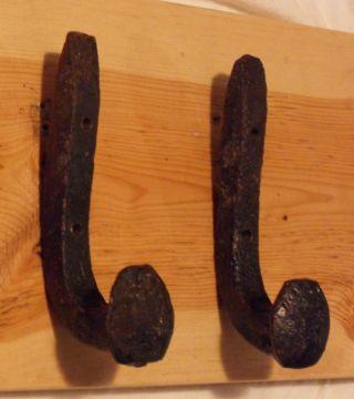 2 Cast Iron Style Black Metal Hangers Antique Vintage Hooks Kitchen Rustic Rack photo