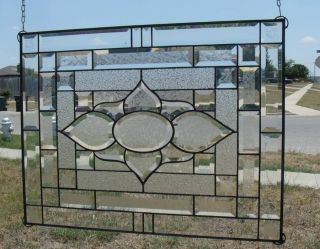 "•clear Obsession• Stained Glass Panel•signed &numbered •large 26 ¼"" By 20 ¼"" photo"