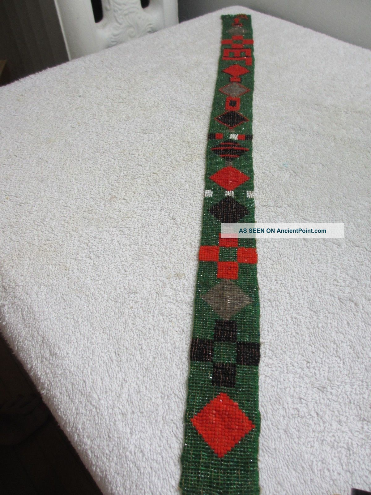 Antique Native American Indian Geometric Art Deco Loom Beadwork Belt Or Strap Native American photo