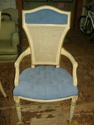 Cane Back Dining Arm Chair Vintage Country French Provincial Modern 2 Available photo