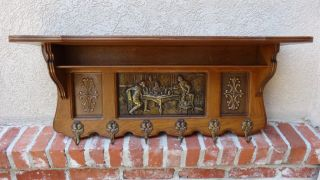 Antique English Carved Oak Wall Shelf Coat Hat Rack Brass Pub Kitchen Scene photo