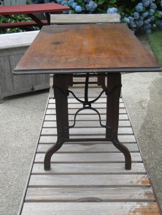 Antique 1875 Portable Wood & Cast Iron Adjustable - Height Utility Table - Steampunk photo