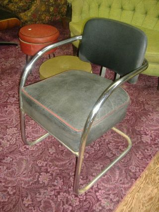 Vintage Chrome Black Vinyl Salon Arm Chair Mid Century Modern photo