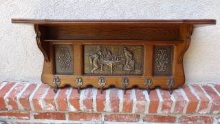Antique English Carved Oak Wall Shelf Coat Hat Rack Brass Pub Kitchen Copper photo
