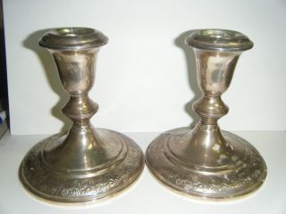 Vintage Empire Sterling Swirly Pattern Pair Candle Holders Candlestick photo