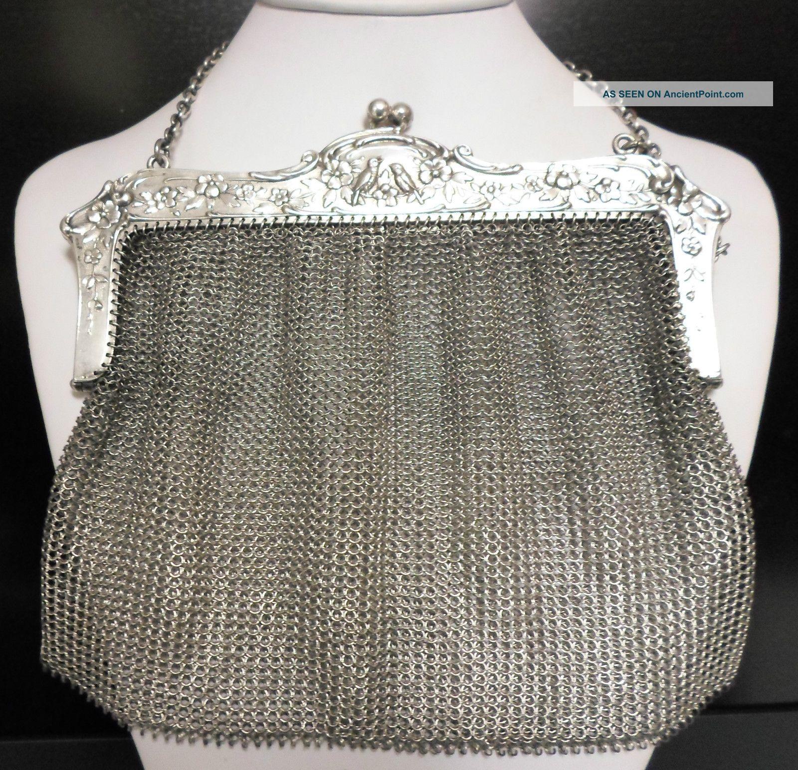 Antique 80% Pure Silver Large Mesh Bird Purse Bag 800 Sterling No Scrap 236gm Silver Alloys (.800-.899) photo