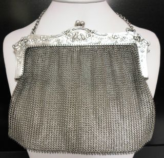 Antique 80% Pure Silver Large Mesh Bird Purse Bag 800 Sterling No Scrap 236gm photo