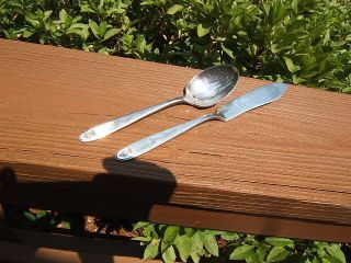 Community Oneida Grosvenor Butter Knife & Sugar Spoon Mono G Or C Lotg photo
