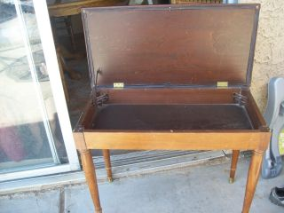 Vintage Ol ' E Sewing Brown Faux Leather Seatee Bench Lid Opens/closes photo