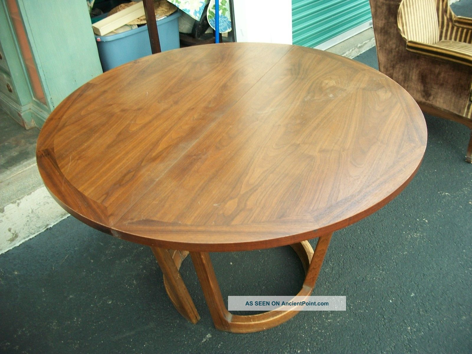 1960 39 S Fine Wood Dining Table With Protector Leaf Post 1950 Photo