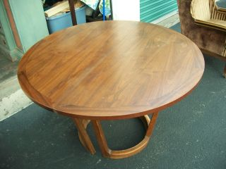 Vintage 1960 ' S Fine Wood Dining Table,  With Protector + Leaf photo