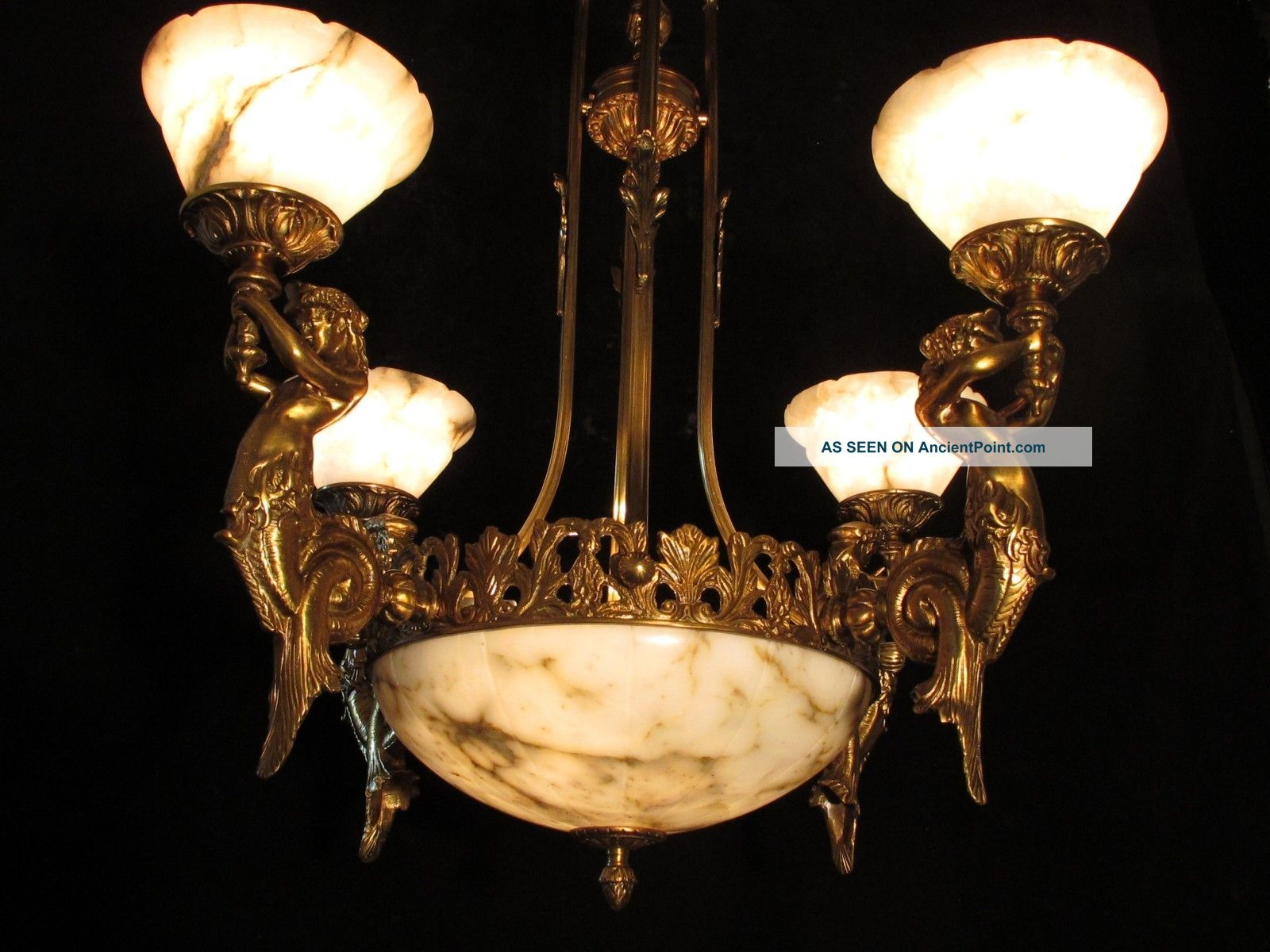 Bronze & Alabaster Chandelier W Mermaid Sculptures