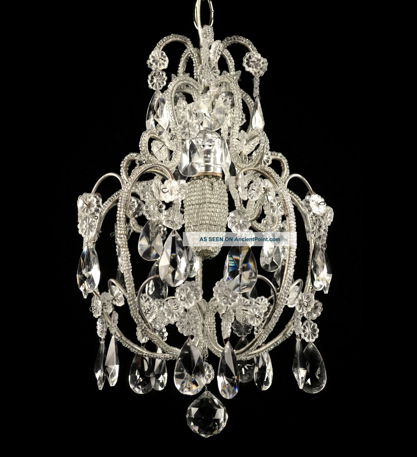 Antique crystal chandelier vintage glass light pendant french antique crystal chandelier vintage glass light pendant french italian restored arubaitofo Images
