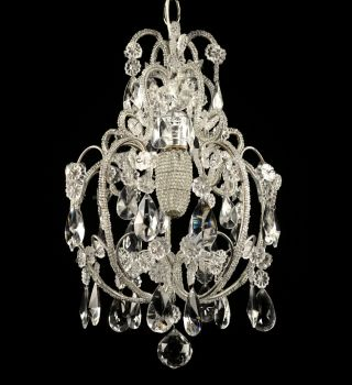 Antique Crystal Chandelier Vintage Glass Light Pendant French Italian Restored photo