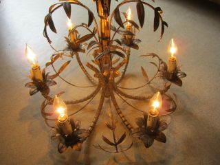 Antique Vtg Hollywood Regency Faux Bamboo Gold Gilt Italian Tole Chandelier photo