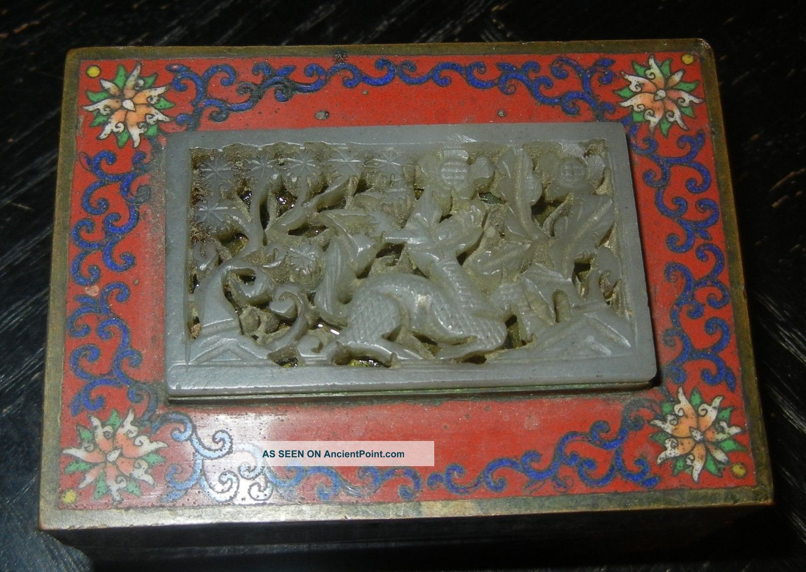 Antique Chinese Cloisonne Box Inlaid Ming Jade Plaque Qilin Boxes photo