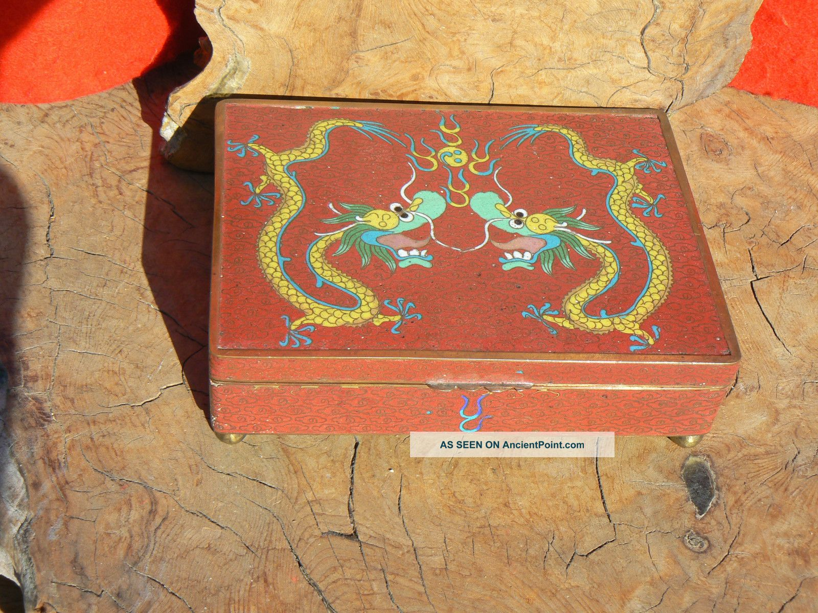 Antique Chinese Cloisonne 2 Dragons Hinged Box Boxes photo