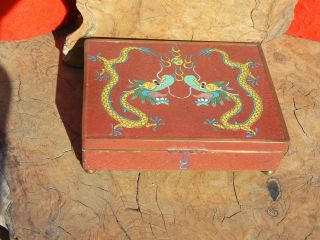 Antique Chinese Cloisonne 2 Dragons Hinged Box photo