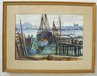 Orig Ellen H Davidson Rockport Ma/delaware Watercolor Painting Fishing Boats Yqz photo