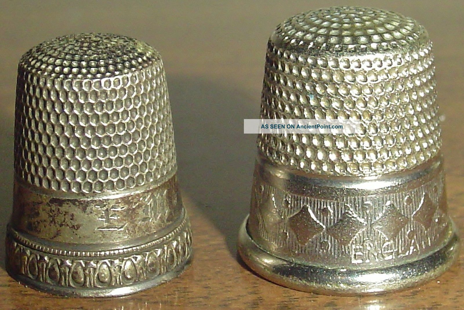 2 Sterling Silver,  Pre 1900 Thimbles Dated W/ Engraving On The Inside & England Thimbles photo