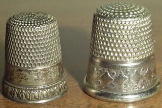 2 Sterling Silver,  Pre 1900 Thimbles Dated W/ Engraving On The Inside & England photo