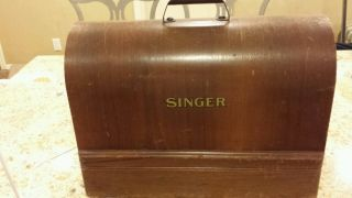 Vintage Rare Singer Sewing Machine Model 128k Clean Wood Carrying Case 195. photo